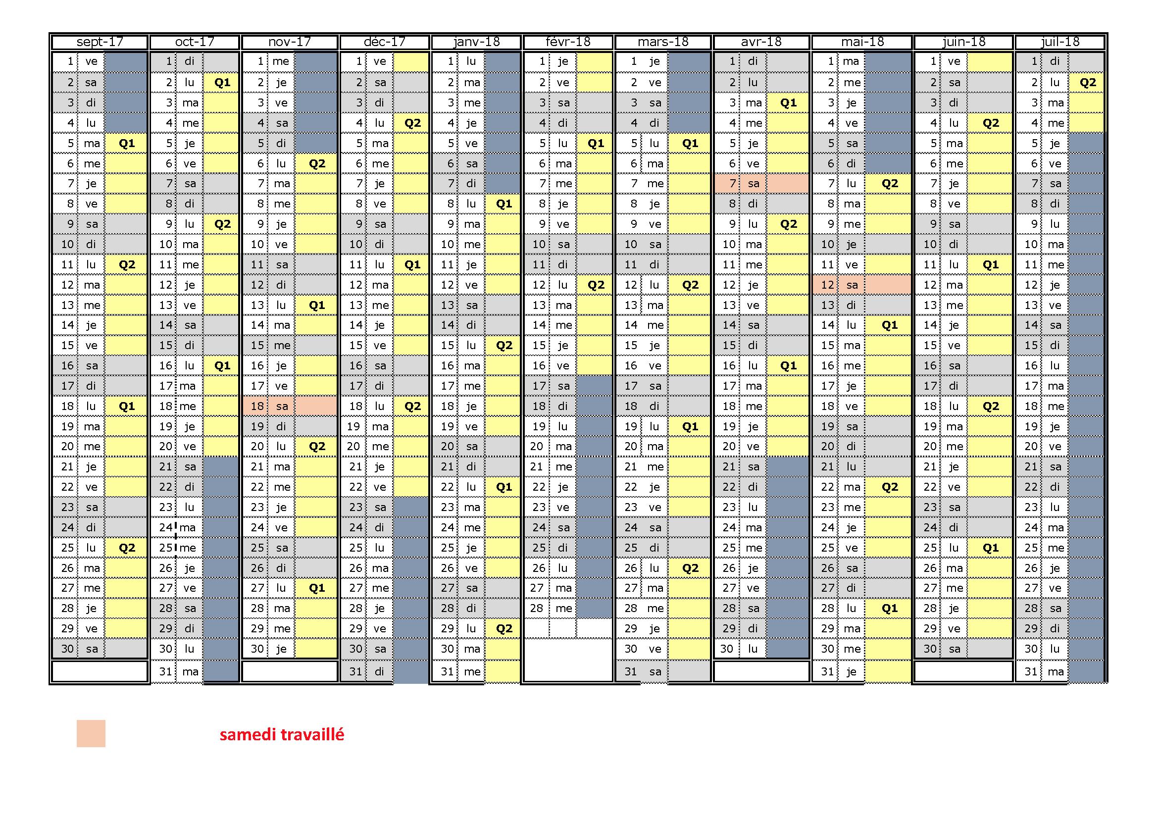 CALENDRIER SCOLAIRE 2017-2018